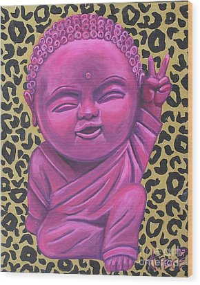 Wood Print featuring the painting Baby Buddha 2 by Ashley Price