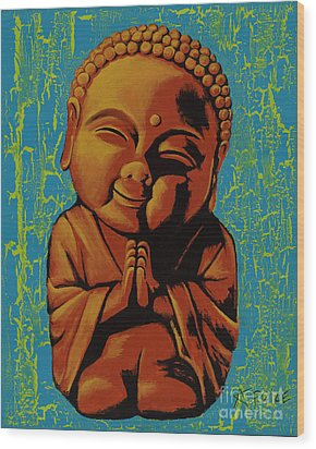 Wood Print featuring the painting Baby Buddha by Ashley Price