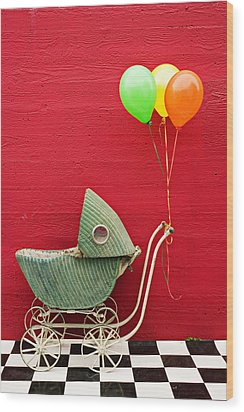 Baby Buggy With Red Wall Wood Print by Garry Gay