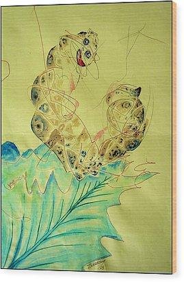 Baby Caterpillar Wood Print by Paulo Zerbato