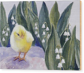 Baby Chick And Lily Of The Valley Flowers Wood Print