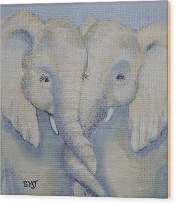 Baby Elephant Friends Wood Print