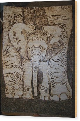Baby Elephant Pyrographics On Paper Original By Pigatopia Wood Print by Shannon Ivins