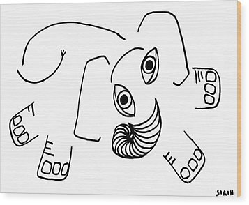 Baby Elephant Wood Print by Sarah Loft
