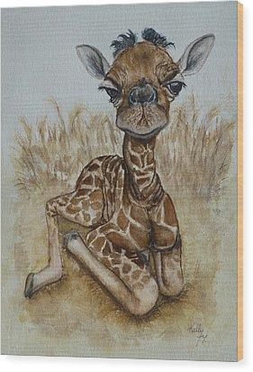 New Born Baby Giraffe Wood Print