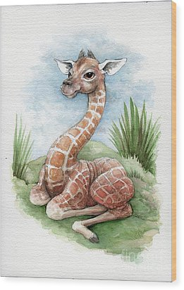 Wood Print featuring the painting Baby Giraffe by Lora Serra