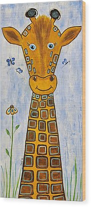Baby Giraffe Wood Print by Suzanne Theis