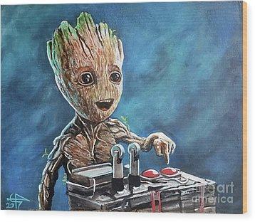 Baby Groot Wood Print by Tom Carlton