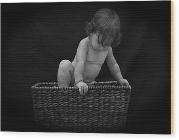 Wood Print featuring the photograph Baby In A Basket by Michael Albright