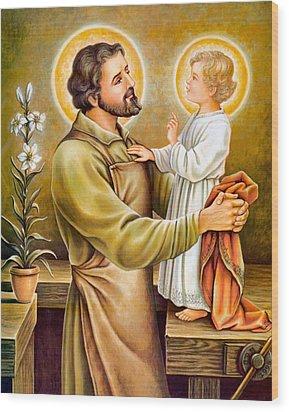 Baby Jesus Talking To Joseph Wood Print