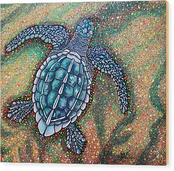 Wood Print featuring the painting Baby Leatherback Sea Turtle by Debbie Chamberlin