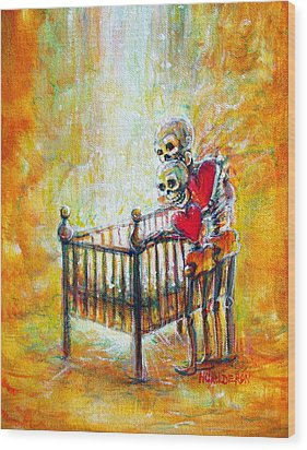 Wood Print featuring the painting Baby Love by Heather Calderon