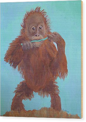 Baby Orangutan Playing Wood Print
