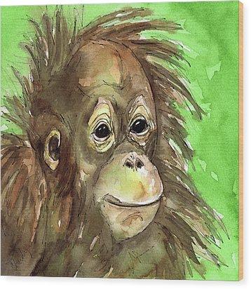 Baby Orangutan Wildlife Painting Wood Print by Cherilynn Wood