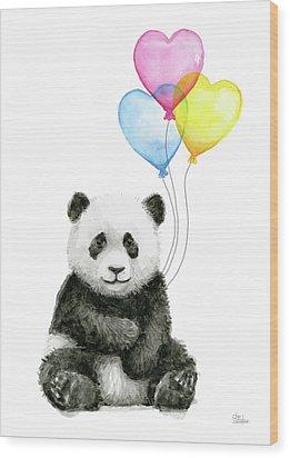 Baby Panda With Heart-shaped Balloons Wood Print by Olga Shvartsur
