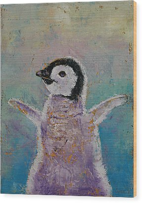 Baby Penguin Wood Print by Michael Creese