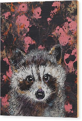 Baby Raccoon Wood Print