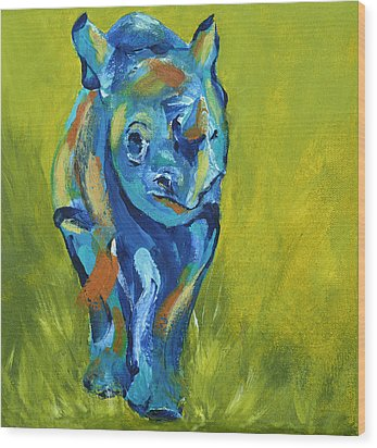Baby Rhino Animal Art Painting Wood Print by Catherine Jeltes