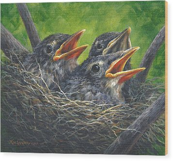 Baby Robins Wood Print by Kim Lockman