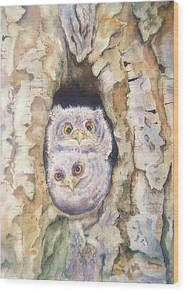 Baby Screech Owls Wood Print by Patricia Pushaw