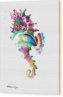 Baby Seahorse Wood Print