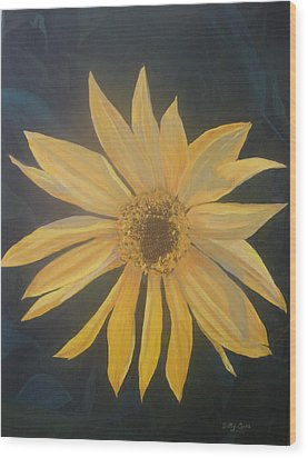Wood Print featuring the painting Baby Sunflower by Betty-Anne McDonald