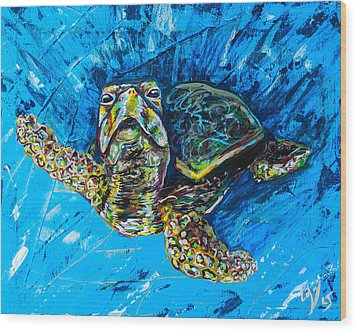 Baby Turtle Wood Print by Lovejoy Creations