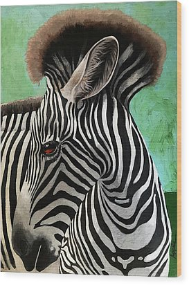 Wood Print featuring the painting Baby Zebra by Linda Apple