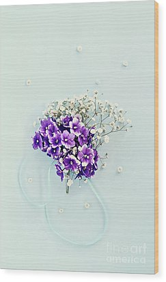 Wood Print featuring the photograph Baby's Breath And Violets Bouquet by Stephanie Frey