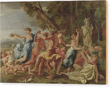 Bacchanal Before A Herm Wood Print by Nicolas Poussin