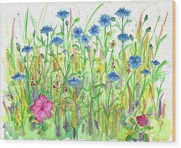 Wood Print featuring the painting Bachelor Button Meadow by Cathie Richardson
