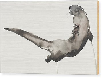 Back Awash   Otter Wood Print by Mark Adlington