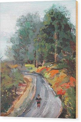 Back Bay Jogger Wood Print