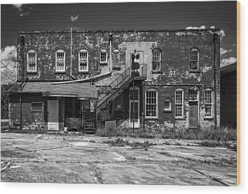 Wood Print featuring the photograph Back Lot - Bw by Christopher Holmes