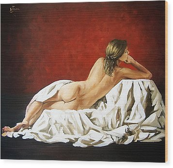 Wood Print featuring the painting Back Nude by Natalia Tejera