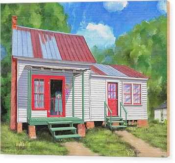 Wood Print featuring the painting Back To Grandmother's Cottage by Mark Tisdale
