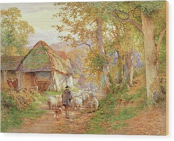 Back To The Fold Wood Print by Charles James Adams