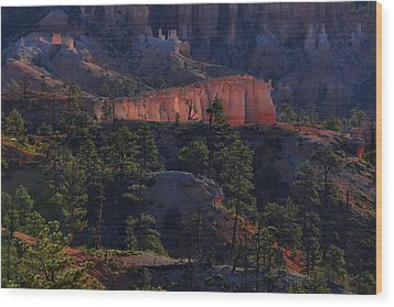 Wood Print featuring the photograph Backlit Hoodoos At Sunrise by Stephen  Vecchiotti