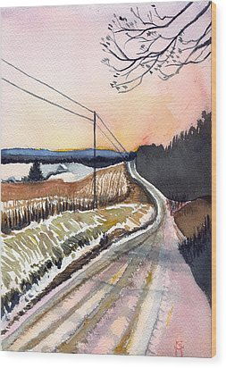 Wood Print featuring the painting Backlit Roads by Katherine Miller