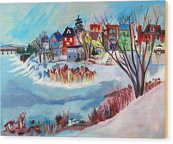 Backside Of Schenectady Stockade In February Wood Print by Betty Pieper