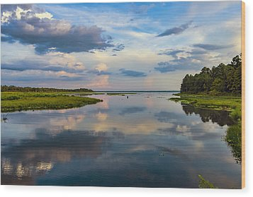 Backwater Sunset Wood Print