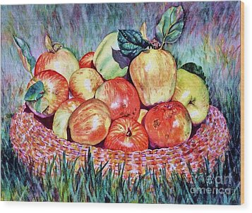 Backyard Apples Wood Print