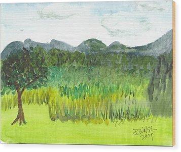 Wood Print featuring the painting Backyard In Barton by Donna Walsh