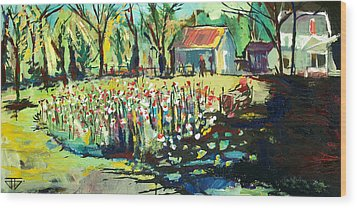 Backyard Poppies Wood Print by John Jr Gholson