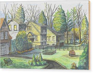 Wood Print featuring the painting Hometown Backyard View by Carol Wisniewski
