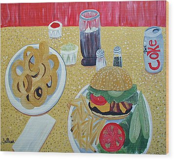 Bacon Cheeseburger Deluxe Wood Print by Norma Tolliver