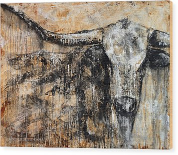 Bad Attitude Texas Longhorn Contemporary Painting Wood Print by Jennifer Godshalk