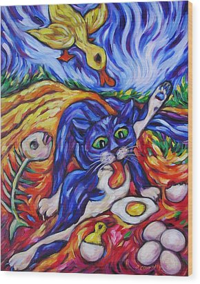Bad Kitty Gets Caught Wood Print by Dianne  Connolly