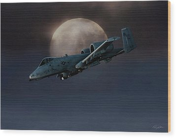 Wood Print featuring the digital art Bad Moon by Peter Chilelli