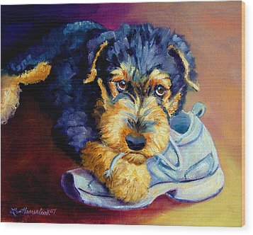 Bad Puppy Airedale Terrier Wood Print by Lyn Cook